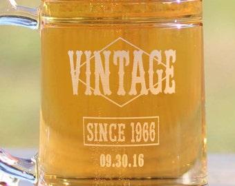 Happy Birthday Beer Mugs, Etched Beer Mug - Happy 30th, 40th, 50th, 60th, Vintage Logo Beer Mug, Great Birthday Present for Beer Lover
