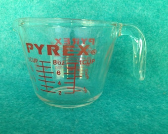 Pyrex Corning 1 Cup Measuring Cup Clear Glass With Red Graphics
