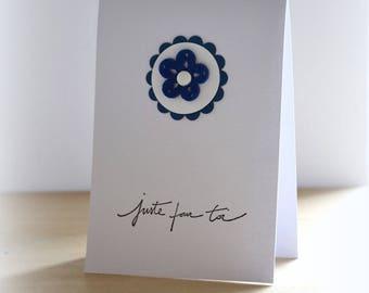 Birthday, friendship blue felt flower card