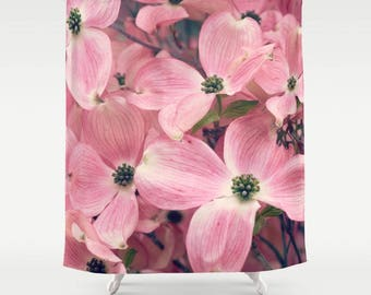 Fabric Shower Curtain, Bathroom Decor - Pink Dogwood Blooms, Springtime Blossoms, Photography by RDelean Design