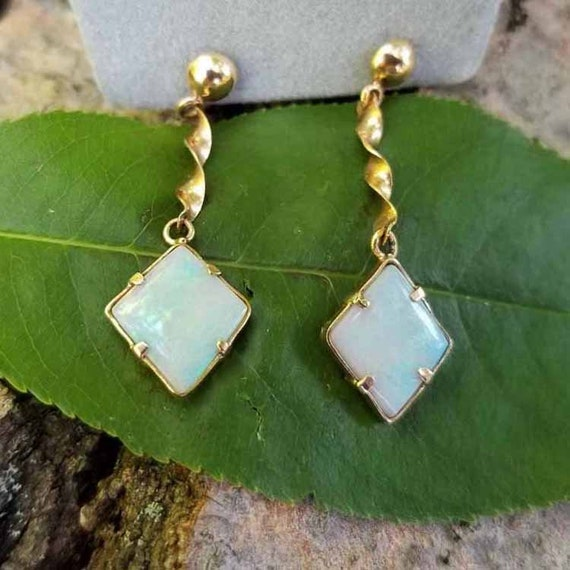 Vintage estate mid century 14k gold hand crafted opal earrings with hiqh quality threaded posts and screw back clutches, maker marked Naomi