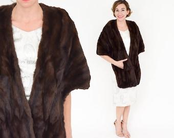 50s Brown Fur Caplet   Soft Dark Brown Fur  Wrap   Capwells California