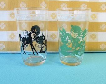 Vintage Swanky Swigs Juice Glasses - Kiddie Cups - Set of 2 -  Pristine - Hazel Atlas - Baby Animals -  Mid Century 1940's