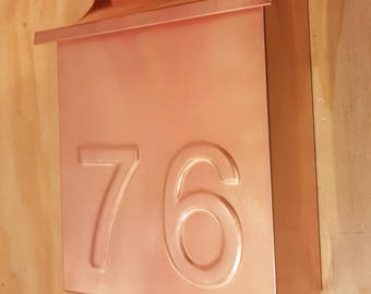 Flush Mount vertical Copper Mailbox with embossed house number