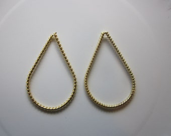 Wire Wrapped Teardrop Gold Finished Steel Jewelry Components 60x35mm 4 Components