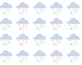Clouds Raining Hearts Stickers: Printable & Perfect for All Planners (Digital Pdf File)