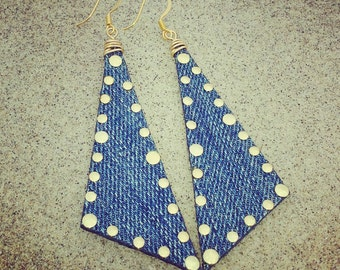 Denim Earrings- Scalene Studded