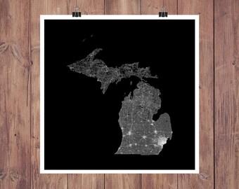 Michigan Roads High Resolution Digital Print / Map of Michigan / Michigan Print / Michigan Wall Art / Michigan Poster / Michigan Map Art