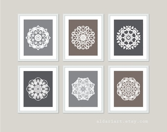 Mandala Art Prints Set of Six - Mandala Wall Art - Grey Brown Neutral Colors - Modern Contemporary Medallion Art - Custom Color - Aldari Art