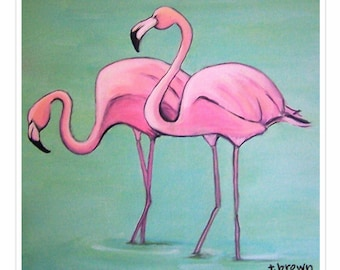 pink flamingos. fine art print. tropical. birds. flamingo art. florida decor. beach wall art. original art. painting. island. resort decor.