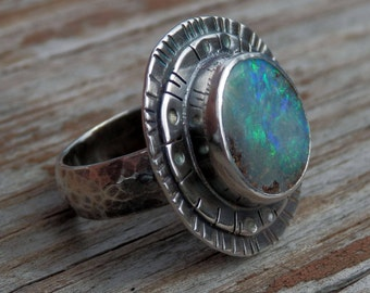 Australian boulder opal ring / opal ring / October birthstone / opal jewelry / boulder opal / natural opal / size 8.5 ring / gift for her