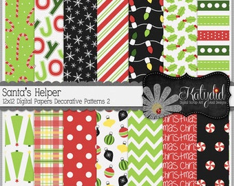 Christmas Digital Paper Santa's Helper Digital 12x12 Patterns 2 Holiday Seasonal Papers and Backgrounds for INSTANT DOWNLOAD