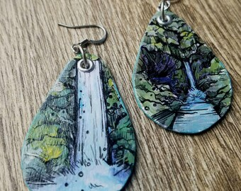 Punchbowl Falls - pdx hand-painted waterfall earrings - Portland, Oregon Nature