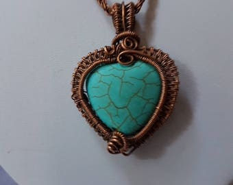 copper wire pendant , wire wrapped pendant, turquoise pendant , handmade jewelry.11
