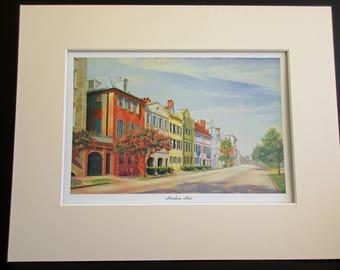 Rainbow Row Charleston South Carolina, Lithograph Print, Jo Dean Bauknight, Charleston Artist, Rainbow Row Print, Bridesmaid Art Gift Idea