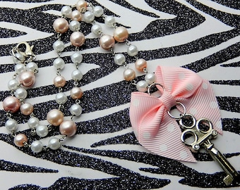 Pink Key Necklace, Polka Dot Bow, Fairy Kei Pastel Necklace