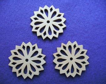 Flower, wood, 3 pieces, 5 cm (01-0002A)