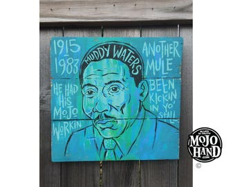 Muddy Waters blues folk art painting by Grego - mojohand.com - original artwork