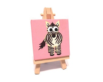 Mini Zebra Painting - small original acrylic art of a cute black and white zebra on a pink background. Miniature canvas with easel
