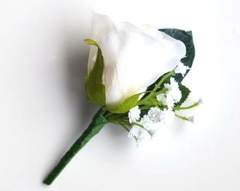 Ivory Rose with Baby's Breath - Buttonhole for Groom or Groomsman -  Traditional Rose Buttonhole, Boutonniere