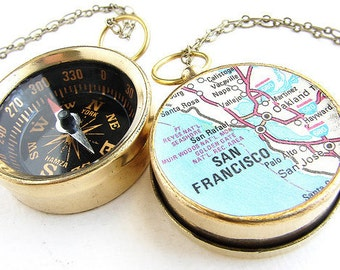 Personalized map necklace, custom map compass, personalized gift, anniversary gift him her