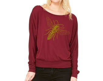Save the Bees Off Shoulder Sweatshirt Bee Shirt Women's Clothing Cute Sweat Shirts Honey Bee Print Long Sleeve Tops Active wear for the gym