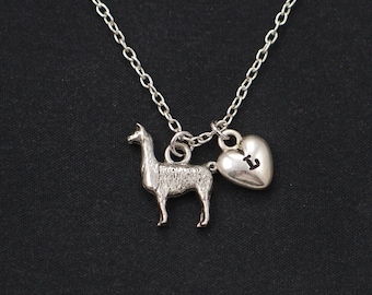 Llama necklace, sterling silver filled, initial necklace, silver llama charm, llama gift, Lama Glama,alpaca necklace,Christmas gift,birthday