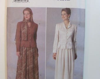 Butterick 5195 Jacket Top, Skirt and Scarf Pattern for Misses or Petite Unused 1997 Sizes 14-16-18 Jessica Howard