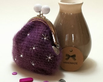 Crystal Studded Mohair Crochet Coin Purse