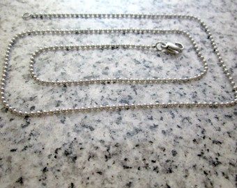 """18"""", 1.5mm No. 0 Stainless Steel Ball Chain necklaces w/ Lobster clasps. - Silver Alternative - BC0-18LC"""