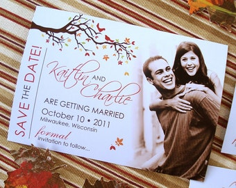 AUTUMN Love Birds and Leaves Photo Save the Date Magnet Sets