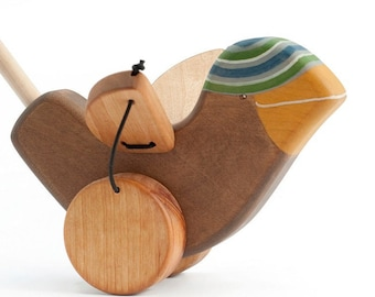 Wooden Push Toy, Toddler Push Toy for 1 year old, Classic Push Toy, a Sparrow