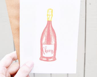 Pink Champagne Engagement Card - Sparkling Rosé Card - Cheers Card