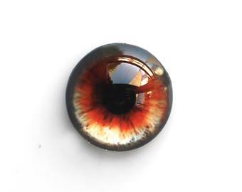 20mm handmade glass eye cabochon - brown / red eye - Hemispherical / High dome
