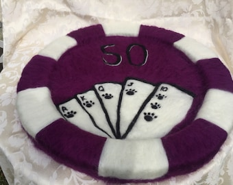 """Poker chip cat bed, wool bed, cat bed, pet bed, sponge bed, Size : DIA 21.5"""""""