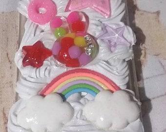 READY TO SHIP Kawaii Fairy Kei Rainbow Bunny Cheerio Star Apple Iphone 4 Deco Case
