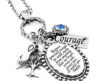 Silver Inspirational Necklace, Victorian Quote Pendant, Engraved Courage Charm, Swarovski Crystal Charm, Respect Yourself Saying