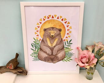 Magical Sun Bear watercolour painting art print sizes A5 A4 270gsm paper animal art mama bear gift
