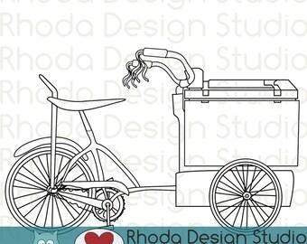 Retro Ice Cream Trike Bikes Digital Clip Art Vintage Bicycles Stamps - Line Art