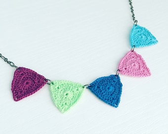 Bucktown Crochet Necklace in Mermaid Carnival, Blue Purple Statement Necklace, Triangle Jewelry, Geometric Necklace, Craft Fair Necklace
