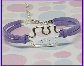 Autism Bracelet, Autism jewelry, Mom jewelry, Suede bracelet, Charm bracelet, Friendship bracelet, Autism Puzzle Piece, Adjustable Bracelet,