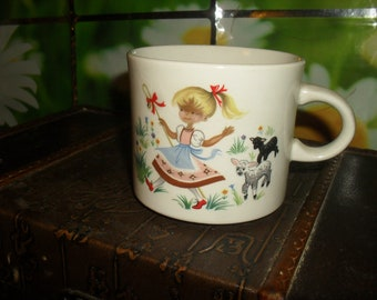 Vintage Child's Mug - Mary Had a Little Lamb - ArkLow China - Made in Ireland - Nursery Rhyme