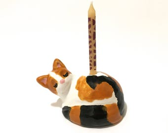 Cat Cake Topper, Cat with Candle Cake Topper Keepsake, Child's Birthday Decor, Calico Cat Sculpture, Sleeping Cat