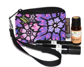 Small Essential Oil Bag - Essential Oil Pouch - Small Bag - Oil Pouch - Fast Shipping - Purple Passion Fabric