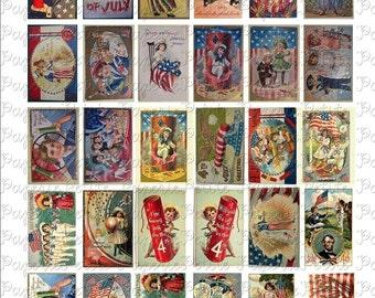 Fourth of July Postcard Digital Download Collage Sheet
