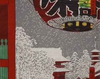Japanese Art Tokyo Furoshiki 'Asakusa' by Hiroshige Cotton Japanese Fabric w/Free Insured Shipping