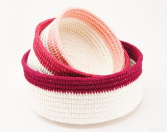 Coiled Crochet Stacking Baskets - PDF Crochet Pattern by JaKiGu