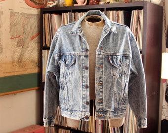 1980s vintage Levis jacket . acid washed denim, xl jean jacket . SEE MEASUREMENTS
