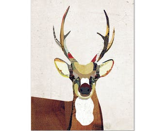 Reproduction d'Art cerf - Collage Poster Print