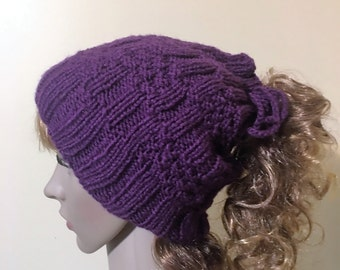 Knitted bun hat/ponytail hat/neck warmer - knitting pattern